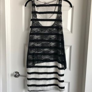 Black and white stripped lace top